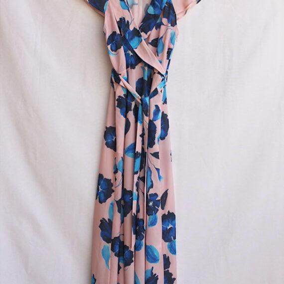 Vestido cruzado con estampado de flores